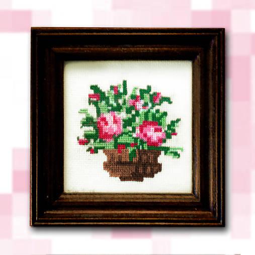 Pixelové kvety - ružové