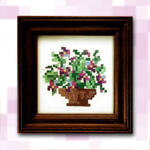 Pixelové kvety - fialové