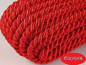 Galantéria - Točená šnúrka červená Ø 5 mm - 4885936_
