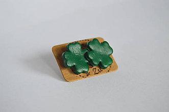 Náušnice - napichovačky - ďobky štvorlístky pre štastie - 4889973_