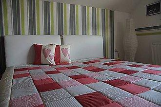 Úžitkový textil - prehoz na posteľ patchwork deka 220x220cm - 4887899_