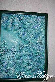 Obrazy - Zasnežený les -  olejomaľba - 4888599_