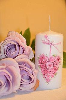 Svietidlá a sviečky - Srdce z ruží - 4891544_