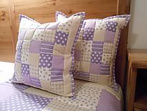 Úžitkový textil - patchwork obliečka 40x40 cm fialovo - béžová - 4890201_