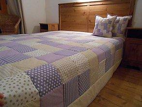 Úžitkový textil - prehoz na posteľ - patchwork deka 200x200 béžovo-fialová - 4890535_