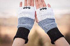 Rukavice - Bavlnené čierno šedo biele rukavice - 4894578_