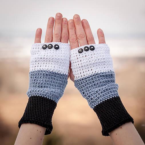 Bavlnené čierno šedo biele rukavice