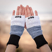 Rukavice - Bavlnené čierno šedo biele rukavice - 4894577_