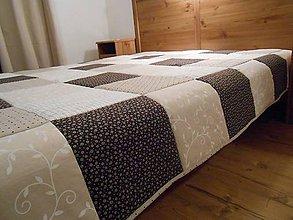 Úžitkový textil - prehoz na posteľ patchwork deka 200 x 200 cm čokoládovo - béžová - 4894006_