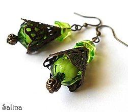 Náušnice - Zeleno-bronzové - 4893172_