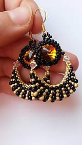 Náušnice - Black and gold topaz - 4893594_