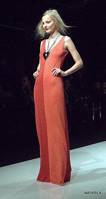 Šaty - Večerky- červené a lososově oranžové na půl - 4894305_