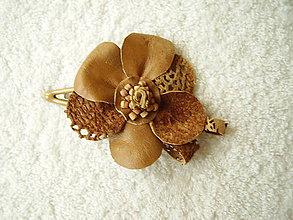 Ozdoby do vlasov - Sponka kožená, jesenný kvet - 4893774_