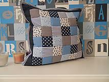Úžitkový textil - patchwork obliečka 40x40 cm parižsko-modrá  s bledomodrou - 4896310_