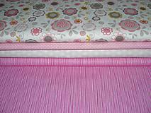 Textil - Látka ružová pásikavá - 4897504_