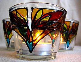 Svietidlá a sviečky - Rozkvitaj - na čierno - maľovaný sklenený svietniček - 4901960_