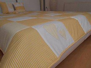 Úžitkový textil - prehoz na posteľ patchwork deka 220 x 200 cm žlto smotanová - 4903233_