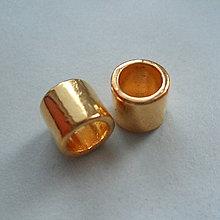 Korálky - Kov.rúrka 6x7mm/otvor 5mm-1ks - 4905716_