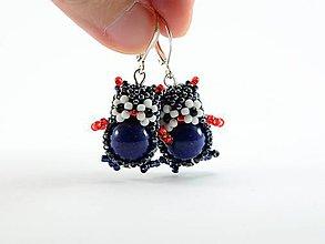 Náušnice - Sovičky s minerálom lapis lazuli - 4904064_