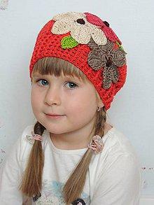 Detské čiapky - Kvetovaná baretka - 4903901_