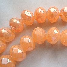 Korálky - Skl.rondelka 8x6mm-pastel.oranž-1ks - 4906626_