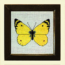 Obrázky - Vyšívané motýle (žltáčik) - 4907533_