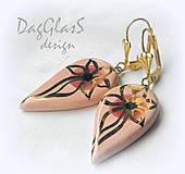 Náušnice - Nežne ružové...zo zlatom - 4911033_
