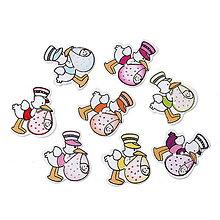 Galantéria - Gombíčky bocian s bábätkom (balíček 5ks) - 4909963_