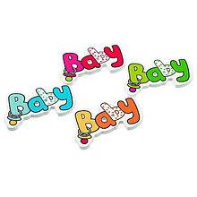Galantéria - Gombíčky s nápisom BABY (balíček 5ks) - 4909975_