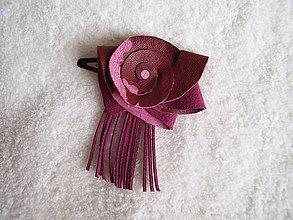 Ozdoby do vlasov - Sponka kožená, fialová - 4910556_