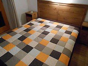 Úžitkový textil - prehoz na posteľ patchwork deka 180 x 200 cm čokoládovo žlto oranžová - 4913816_