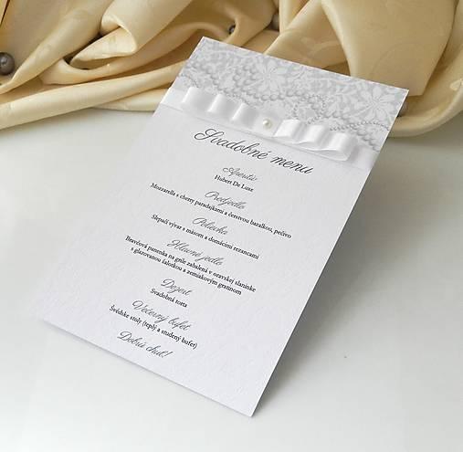 11bfa140d042 Svadobné menu Pearl Dream   Anije - SAShE.sk - Handmade Papiernictvo