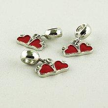 Korálky - Pandorka s príveskom Double heart - 4919617_