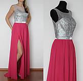 Šaty - Spoločenské šaty s flitrovým korzetom a tylom rôzne farby - 4920340_