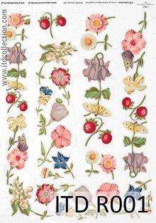 Papier - ryžový papier jahôdky a kvety - 4918499_