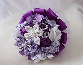 Dekorácie - Gratulačná saténová kytica fialová - 4920359_