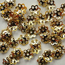 Komponenty - Kaplík kvietok 6mm-50ks (zlatý) - 4922109_