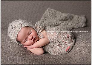 Detské čiapky - Set na fotenie, wrap a čepček - 4927495_