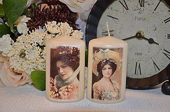 Svietidlá a sviečky - Dámy - duo vintage sviečok - 4929567_