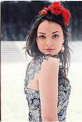 Náušnice - Soutache s obšitou rivoli (Červeno zlaté) - 4935016_