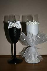 Nádoby - Svadobné poháre-biele - 4938011_