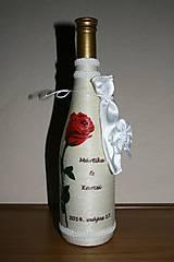 Nádoby - Svadobná fľaša-červená ruža - 4938038_