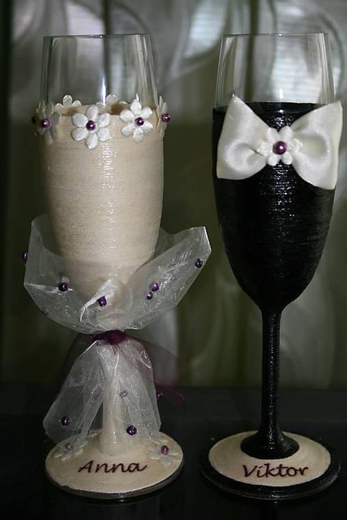 Svadobné poháre-bordové