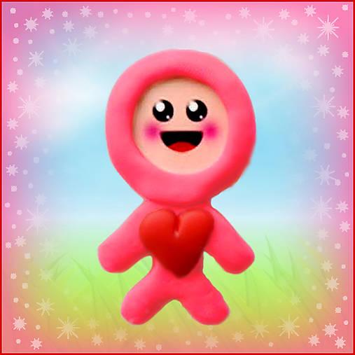 Valentínsky pajác - ružový (magnetka)