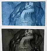 Grafika - Spiaca rozprávka - grafický list - modrá na bielom - 4942945_
