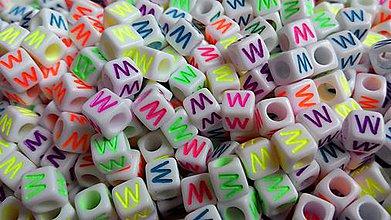 Korálky - Písmenka neónové W - 4942801_