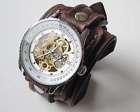 Náramky - Štýlové pánske hodinky, kožený náramok - 4939648_