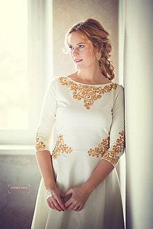 Šaty - Zlatá maľba na biele šaty... - 4942373_