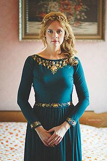 Šaty - Dlhé tmavo zelené s maľbou.... - 4942414_