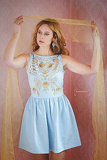Šaty - Modré šaty so zlatou maľbou... - 4942553_